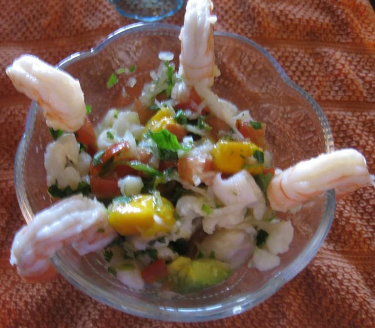Cebiche de pescado con Mango
