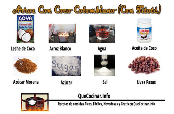 Arroz-Con-Coco-Ingredientes Arroz Con Coco Colombiano | Receta Para Hacer Arroz Coco