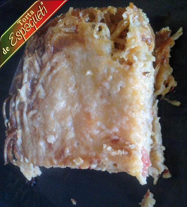 Torta-de-espagueti-pedazo Receta Torta Espagueti De Mi Mama | Que Cocinar Hoy
